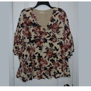 M Altar'd State Floral Print Boho Tunic Top